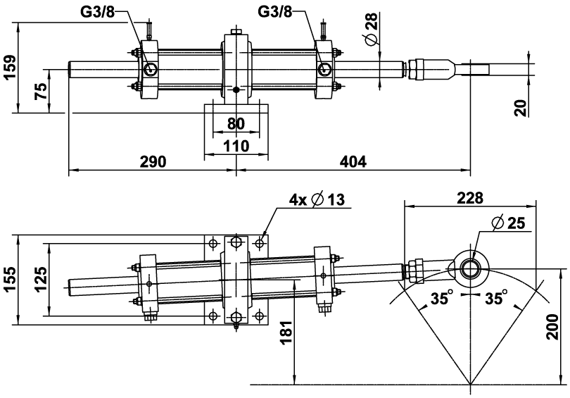 2200094 Vérin hydraulique VHM 60 DT