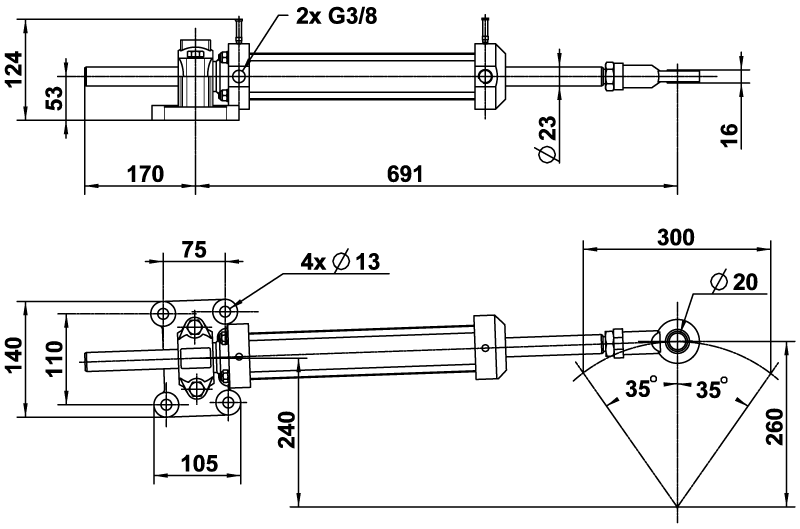 2200498 vérin vhm 50 dtp c300