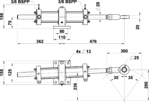 2200095 Vérin hydraulique VHM 60 DT C300